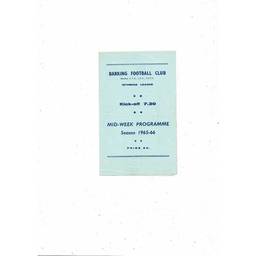 1965/66 Barking v Cheshunt Mithras Cup Semi Final Football Programme
