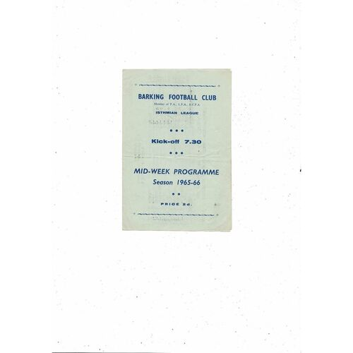 1965/66 Barking v Corinthian Casuals Football Programme