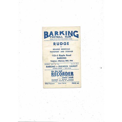 1965/66 Barking v Dulwich Hamlet Football Programme