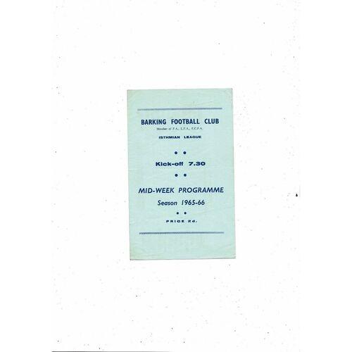 1965/66 Barking v Dagenham Mithras Cup Final Football Programme