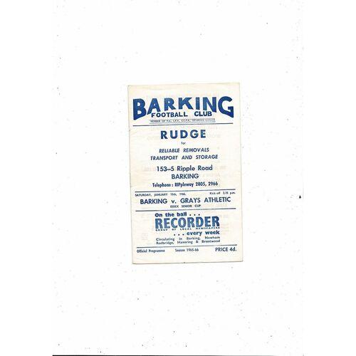 1965/66 Barking v Grays Essex Senior Cup Football Programme