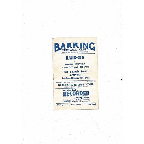 1965/66 Barking v Hitchin Town Football Programme