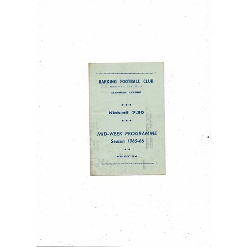 1965/66 Barking v Hendon Football Programme