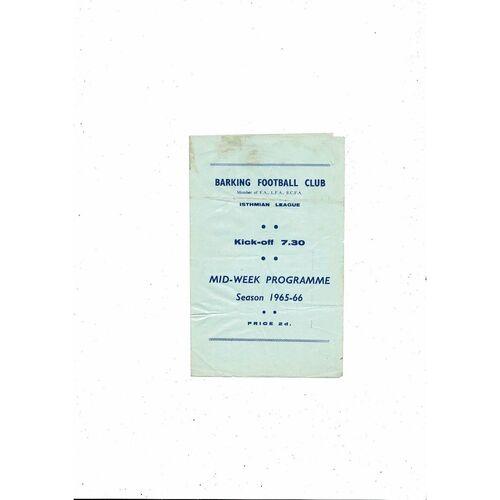 1965/66 Barking v Ilford Thameside Trophy Semi Final Football Programme