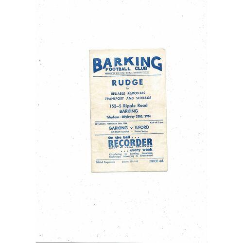 1965/66 Barking v Ilford Football Programme