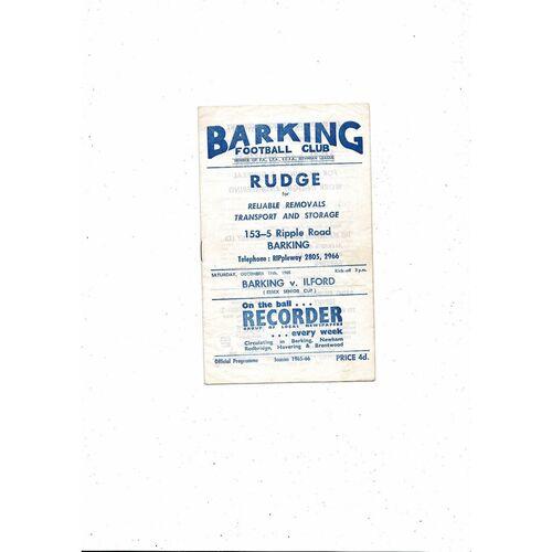 1965/66 Barking v Ilford Essex Senior Cup Football Programme