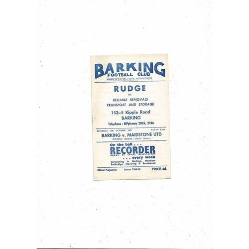 1965/66 Barking v Maidstone United Football Programme