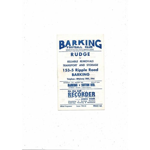 1965/66 Barking v Sutton United Football Programme