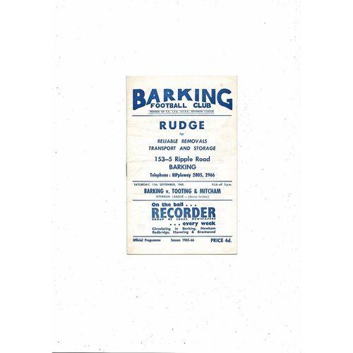 1965/66 Barking v Tooting & Mitcham Football Programme