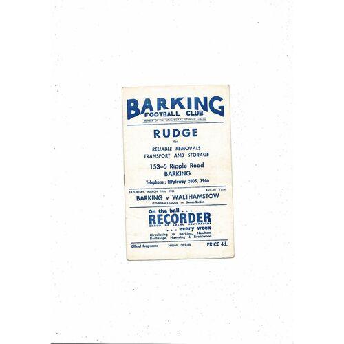 1965/66 Barking v Walthamstow Avenue Football Programme