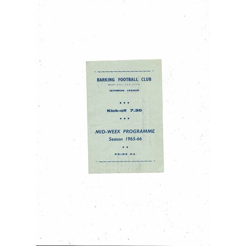 1965/66 Barking v Wealdstone Football Programme