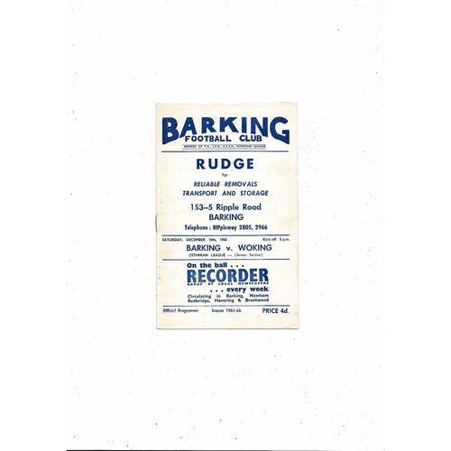 1965/66 Barking v Woking Football Programme