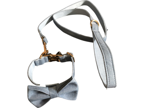 Small dog collar lead and bow tie set