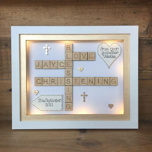 Christening / Baptism scrabble word art
