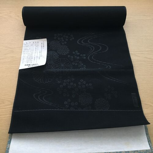 Silk black obi fabric