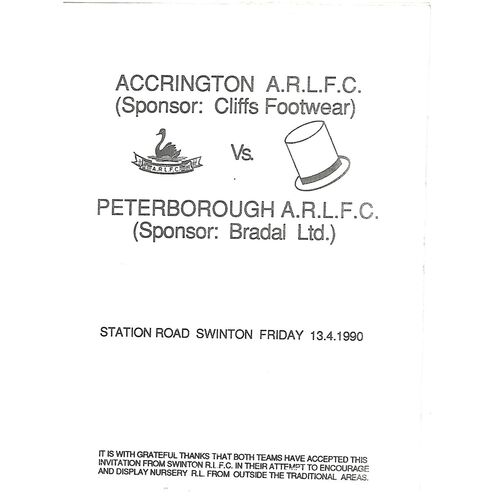 1989/90 Accrington v Peterborough Rugby League Programme