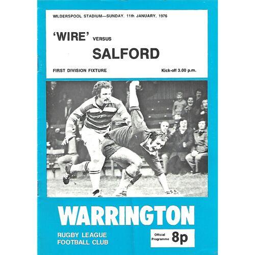 1975/76 Warrington v Salford Rugby League Programme
