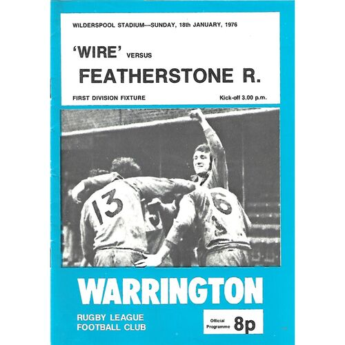1975/76 Warrington v Featherstone Rovers Rugby League Programme