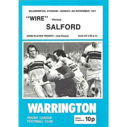 1977/78 Warrington v Salford John Player Trophy 2nd Round Rugby League Programme