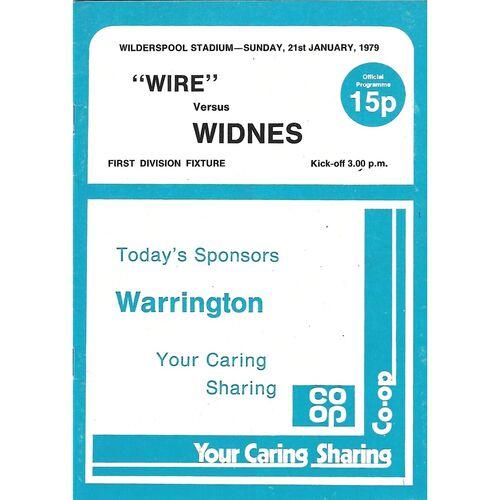 1978/79 Warrington v Widnes Rugby League Programme