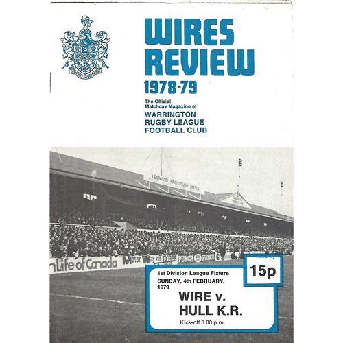 1978/79 Warrington v Hull Kingston Rovers Rugby League Programme