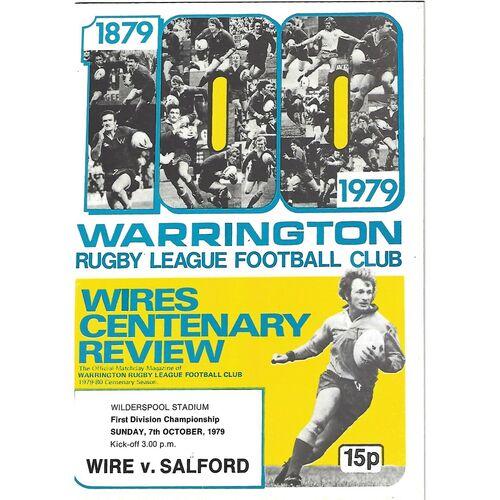 Warrington Home Rugby League Programmes