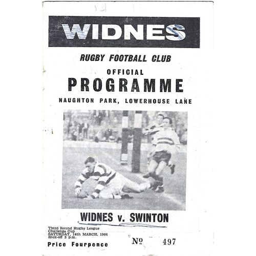 1963/64 Widnes v Swinton Rugby League Programme
