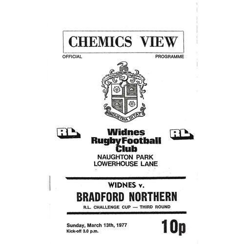 1976/77 Widnes v Bradford Northern Rugby League Challenge Cup 3rd Round Rugby League Programme