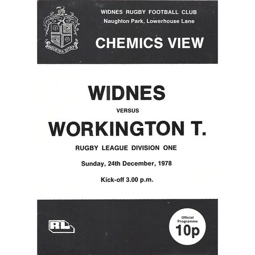 1978/79 Widnes v Workington Town Rugby League Programme