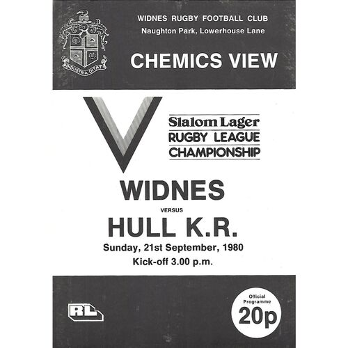 1979/80 Widnes v Hull Kingston Rovers Rugby League Programme