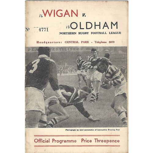 1961/62 Wigan v Oldham Rugby League Programme