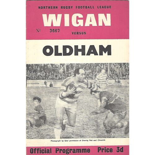 1964/65 Wigan v Oldham Rugby League Programme