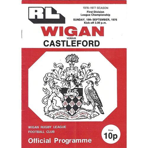 1976/77 Wigan v Castleford Rugby League Programme