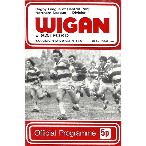 1974/1975 Wigan v Salford Rugby League Programme