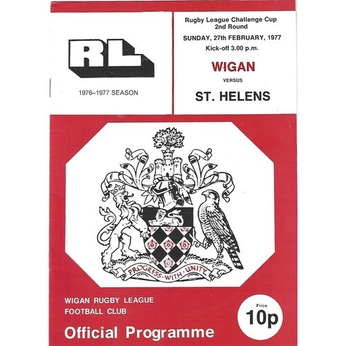 1976/77 Wigan v St. Helens Rugby League Challenge Cup 2nd Round Rugby League Programme