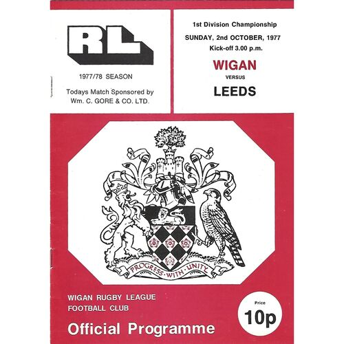 1977/78 Wigan v Leeds Rugby League Programme