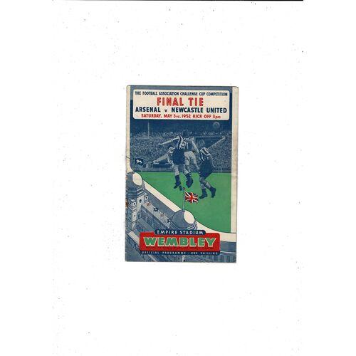 1952 Arsenal v Newcastle United FA Cup Final Football Programme