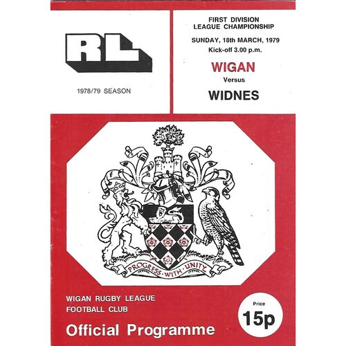 1978/79 Wigan v Widnes Rugby League Programme