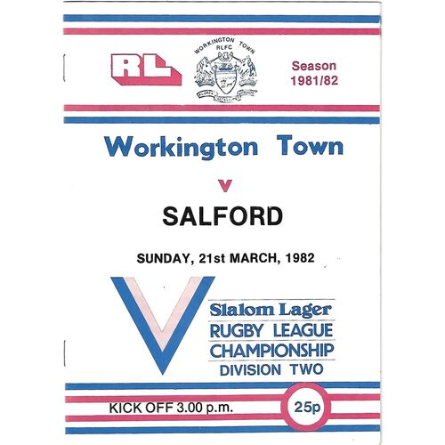 1981/82 Workington Town v Salford Rugby League Programme