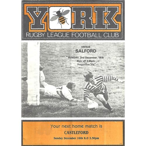 1979/80 York v Salford Rugby League Programme