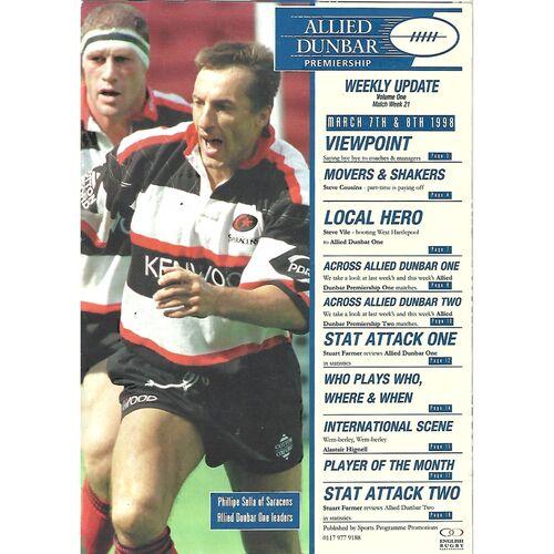 1998 Allied Dunbar Premiership Magazine (Volume One, Match Week 21)