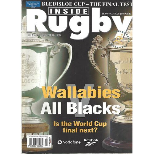 1999 Inside Rugby Magazine (Volume 2, Number 6, Bledisloe Cup - The Final Test 09/1999) & Pull Out Poster
