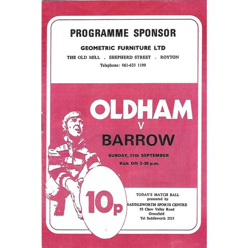 1977/78 Oldham v Barrow Rugby League Programme