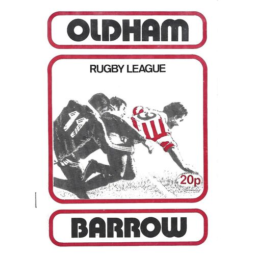 1979/80 Oldham v Barrow Rugby League Programme