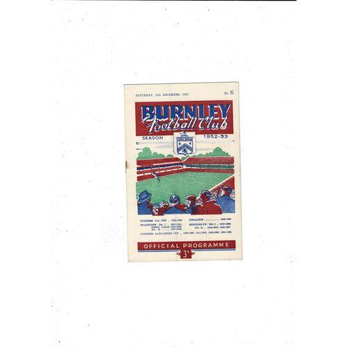 1952/53 Burnley v Arsenal Football Programme