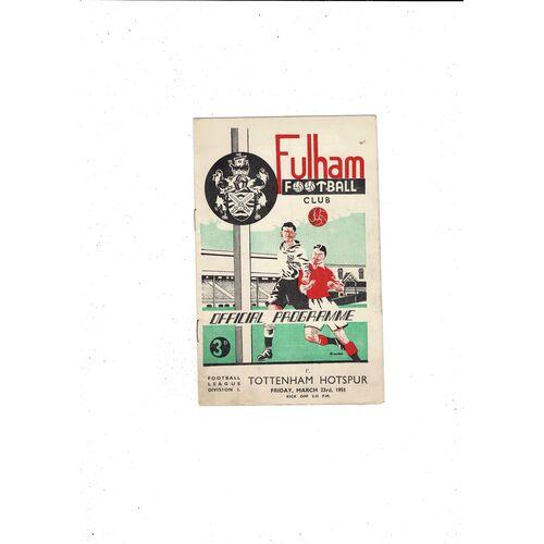 1950/51 Fulham v Tottenham Hotspur Football Programme