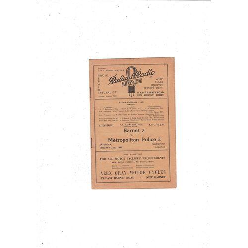 1947/48 Barnet v Met Police FA Amateur Cup Football Programme