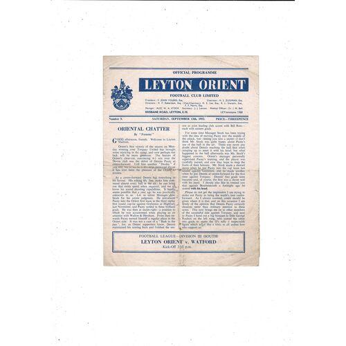 1952/53 Leyton Orient v Watford Football Programme