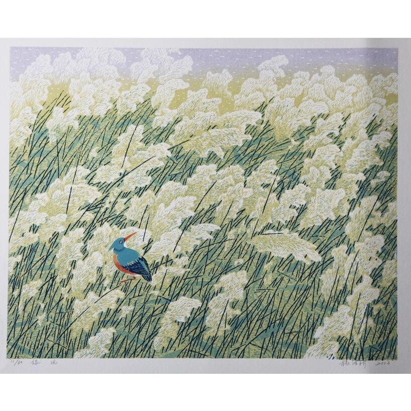 Green Breeze (original woodblock print)