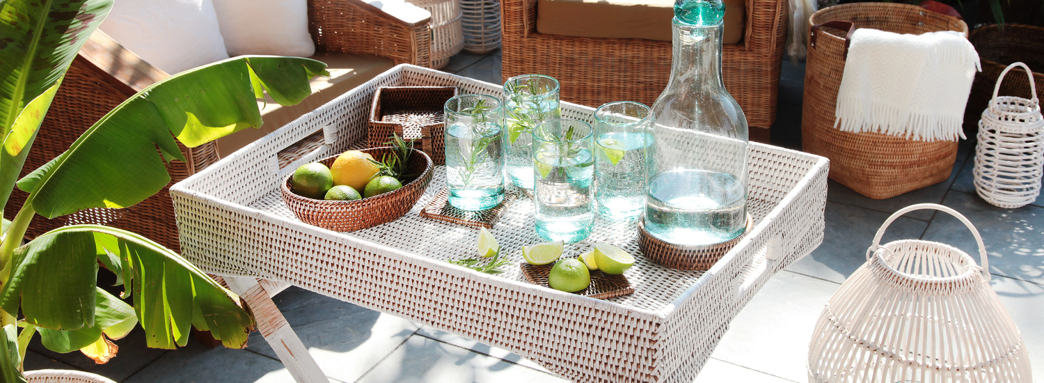 Rattan Butler Tray and Candle Lanterns